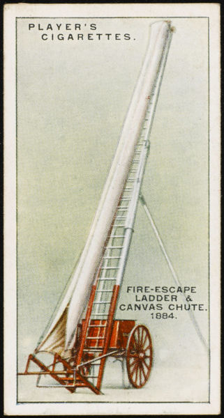 Merryweathers fire-escape ladder and canvas chute, enabling persons to descend rapidly from a burning building