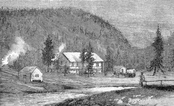 Engraving showing the log cabins of Henderson and Klamer's Hotel, Fire-Hole Basin, Yellowstone Park, USA, 1888. In March 1872 President Grant made Yellowstone a National Park, '...for the benefit and enjoyment of the people.&#39