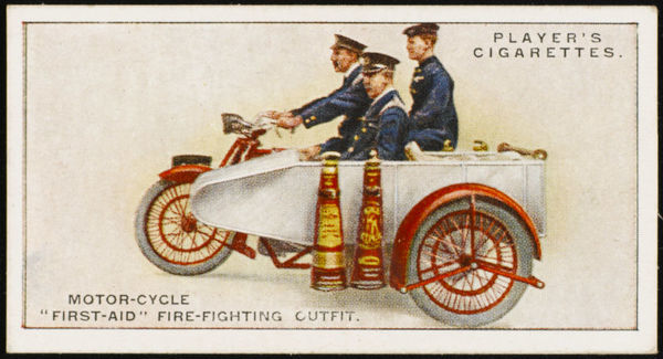 A motor-cycle fire-fighting unit, with a sidecar accommodating 500 feet of hose standpipes, branch-pipes, turncocks and tools