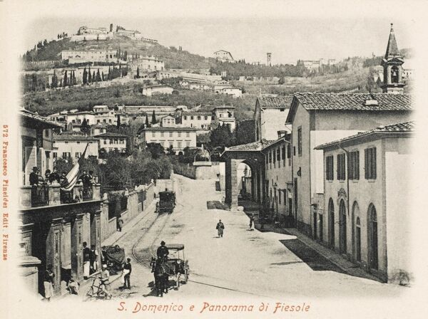 Firenze, Italy. S. Domenico street and a view of Fiesole
