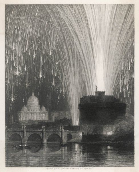 Firework display at the Castel sant'Angelo, Rome, with St Peter's in the background lit up by the cascade of light