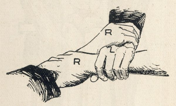 First aid, method of carrying a patient using three interlocked hands