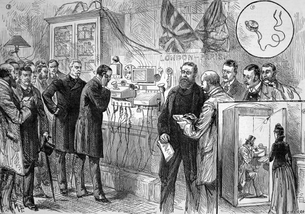 Illustration showing the completion of the first Anglo-French telephone with callers in London speaking to Paris. Insert picture no. 1 shows a telephone wire-testing machine, and no.2 shows a Subscribers (Silent) Box for making private calls