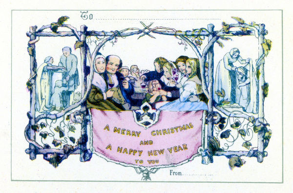Reputedly the first Christmas card, this was designed by Horsley in 1843, and a coloured version sent out by Sir Henry Cole in 1846