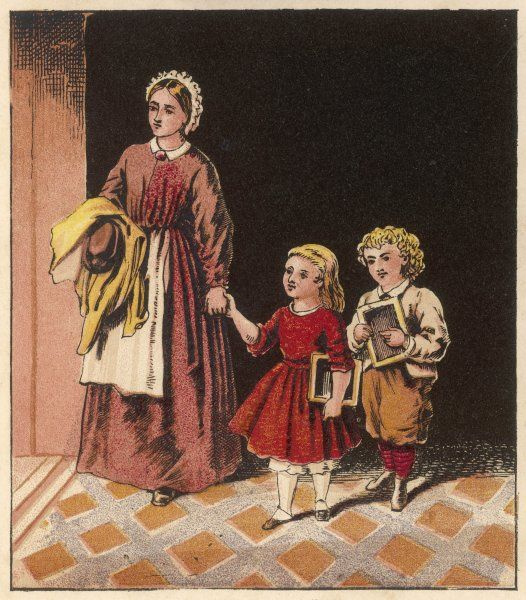 The teacher's assistant receives Mary and Willie at the school door