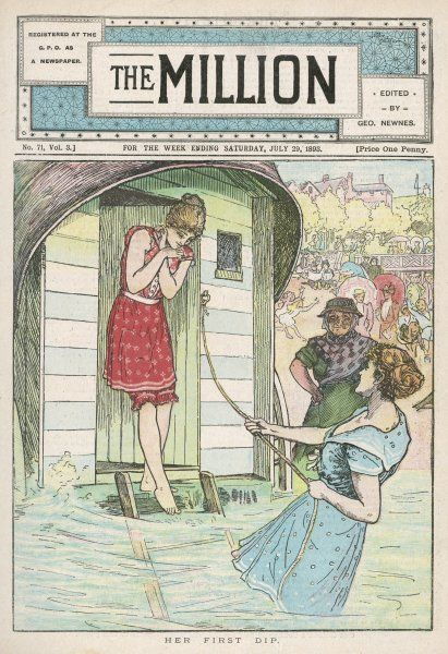 'HER FIRST DIP' - a young lady emerges from a bathing machine to face the ordeal of her first immersion in sea water : note the bathing-woman in attendance