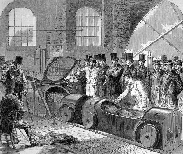 First dispatch of mail-bags in 1863 through the pneumatic tube from the district office in Eversholt Street, London to Euston Station