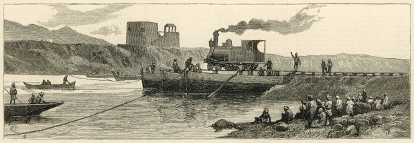 The first engine for the Peshawur railway being conveyed across the River Indus at Attock, India