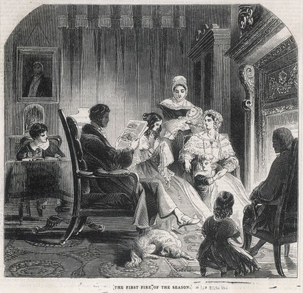 The First Fire of the Season. A contented Victorian family bask in the glow of the fire and their own goodness