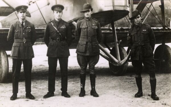 First flight from the UK to Australia in a Vickers Vimy plane. Sir Ross Macpherson Smith (second left) and his brother Sir Keith Macpherson Smith (far left) flew the plane along with Sergeant Jim Bennett and Sergeant Wally Shiers (second from the right
