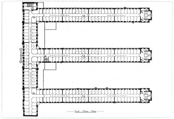 The first floor plan of the Rowton House opened in 1905 on Arlington Road, Camden, north west London, to provide cheap accommodation for working men. The first floor, and the others above it, was filled with dormitory cubicles