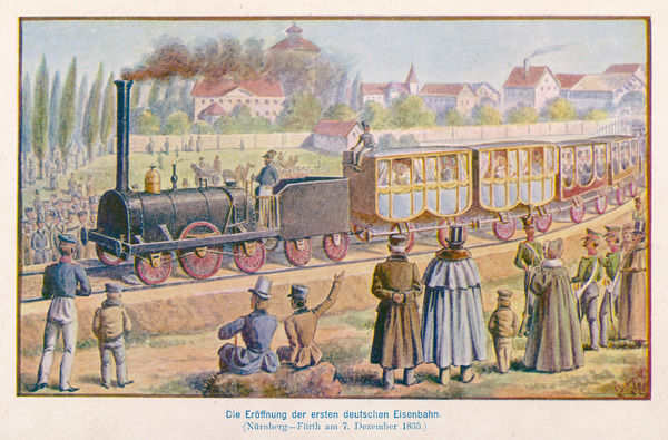 NUREMBERG - FURTH RAILWAY Spectators wave as the first railway train in Germany makes its first journey