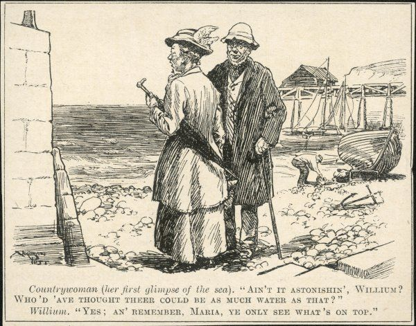 An elderly couple from the country make a dim-witted observation regarding the amount of water at the seaside. Typical example of sneering middle class humour