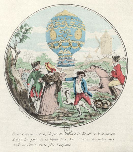 Pilatre de Rozier and le marquis d'Arlandes make the first manned flight, in a hot- air Montgolfiere, over Paris