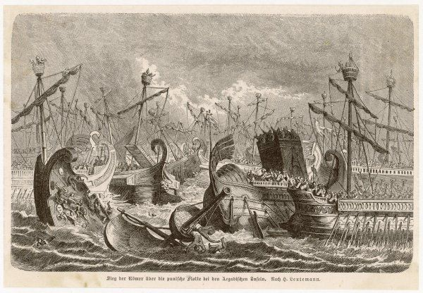 PUNIC WARS : Gaius Lutatius Catulus wins a major naval victory, defeating Hanno the Great's Carthaginian fleet at the Battle of the Aegates Islands or Aegusa (the Aegadian Islands, off the western coast of Sicily), capturing 70 vessels