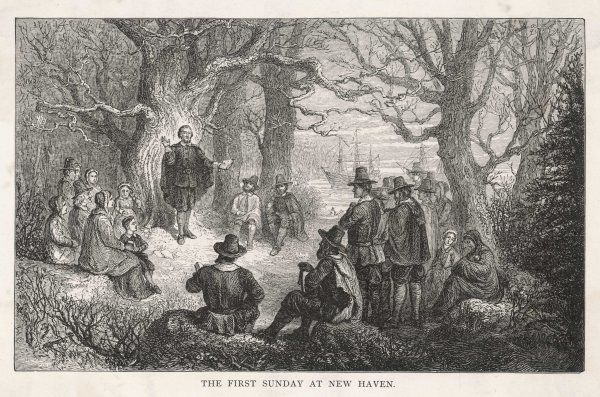 The Pilgrim Fathers celebrate the first Sunday at New Haven