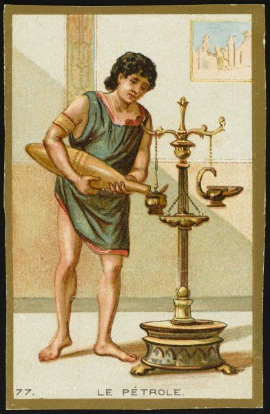 THE FIRST USE OF OIL in lamps, by Greeks and Hebrews