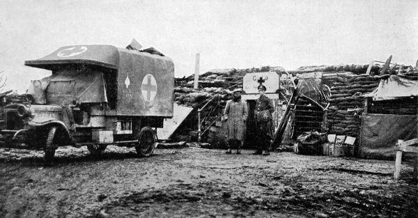 A photograph of an advanced dressing station on the Western Front