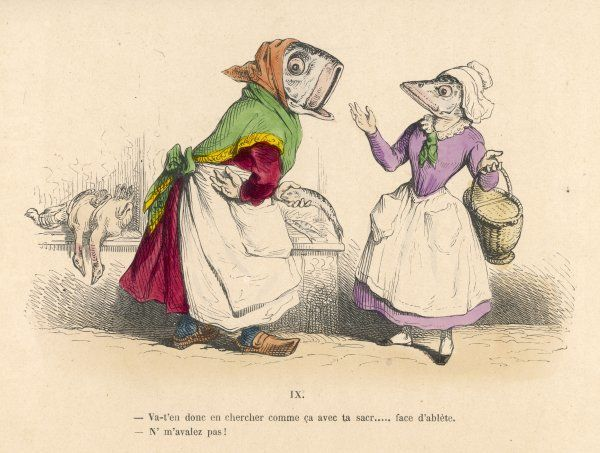 Fish, in human dress, going shopping for poultry