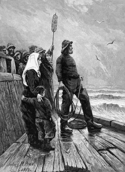Engraving, originally entitled 'An anxious moment', showing a small family and a fisherman standing on a quay looking out to sea