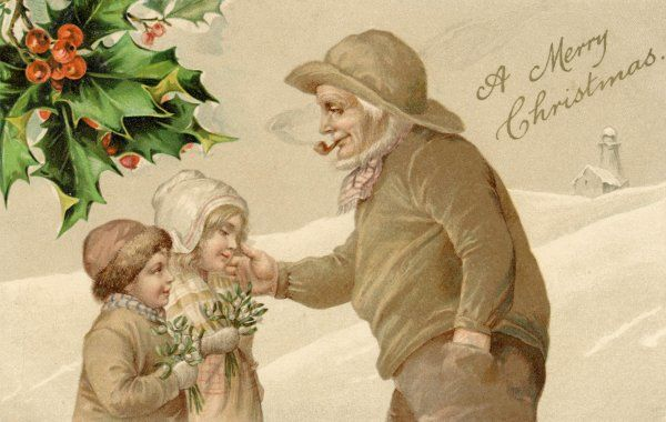 A fisherman gives seasonal greetings to two children