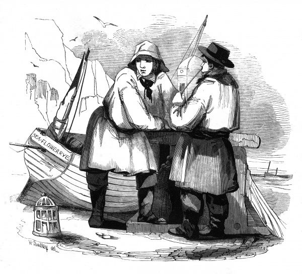 Two fishermen of Rye talk and smoke beside their boat Date: 1842