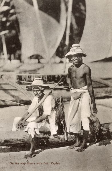 Fishermen returning home with their catch - Sri Lanka Date: circa 1934