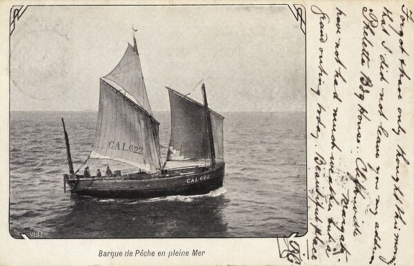 Fishing boat on a calm sea - off the coast of Belgium Date: circa 1910s