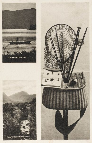 Fishing Equipment suitable for use in the Lake District - includes two inset pictures of Derwentwater (upper picture) and Newlands Valley (lower)