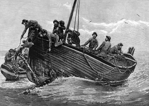 Engraving of fishermen retrieving a lost anchor, from the Illustrated London News, 27th June 1885