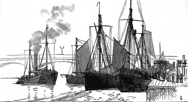 Engraving showing some fishing smacks moored beside Billingsgate Fish Market, London, 1882. On the right of the image, some porters appear to be landing the catch from the boats