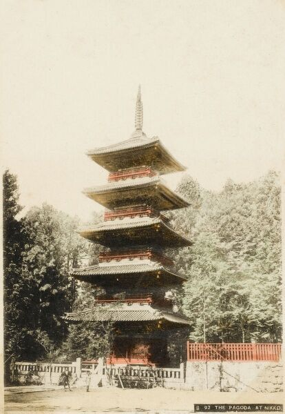 The five storied Pagoda at Nikko, Japan. Tadakatsu Sakai started work on this building in 1650, but it burned down in 1815. It was rebuilt in 1818