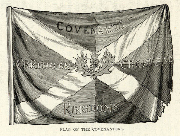 The Flag of the Scottish Covenanters. They were Presbyterians sworn to defend their religion, part of a Protestant effort to seize power in Scotland against the English. In 1643 their Solemn League and Covenant was accepted by the English Parliament