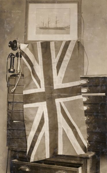 The flag presented by Queen Alexandra to Captain Scott on 25 June 1910, to be carried on the South Pole Terra Nova expedition and planted at the most southerly point reached