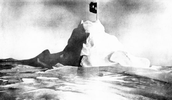 Photograph, taken by Commander Robert E. Peary, of his country's flag positioned at the North Pole, 6th April 1909