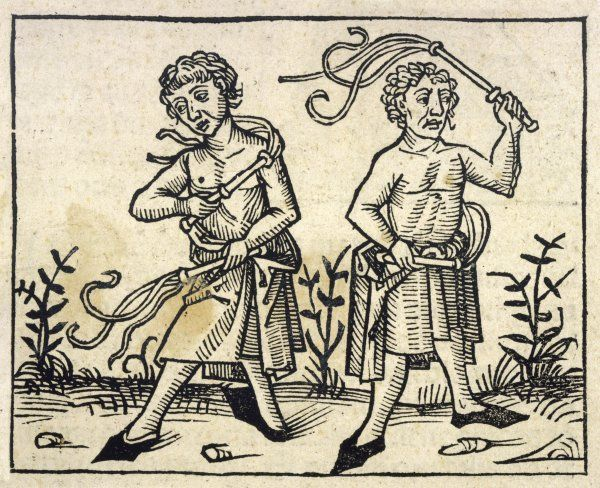 Two men, bare to the waist flagellate themselves with two whips