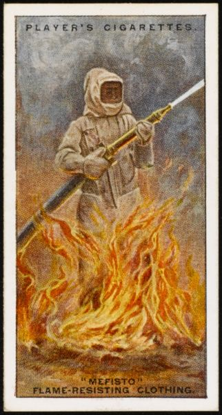 'Mefisto' flame-resisting clothing introduced by Merryweathers in the late 1920s, allowing firemen to enter a burning area and continue to work