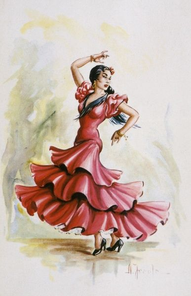 A Flamenco dancer in a red dress strikes a commanding pose. Date