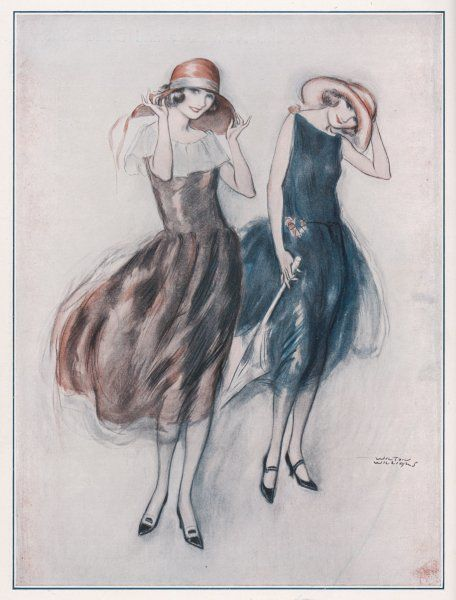 Two happy flappers wear soft wide brimmed hats & gathered skirts that catch the breeze