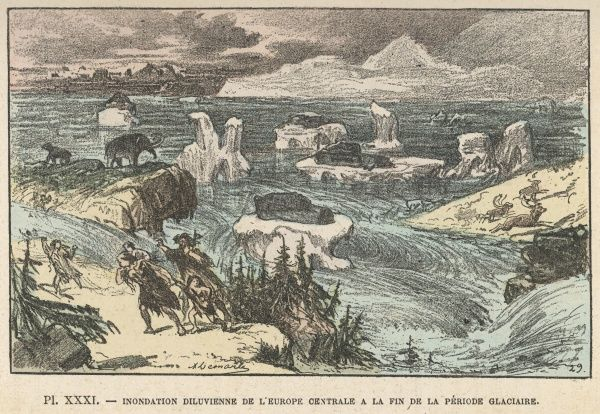 Humans and other animals flee southwards before the glacial flood which devastates Europe at the end of the Ice Age