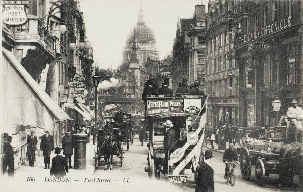 A lovely view up Fleet Street, toward Ludgate Hill and St Paul's Cathedral