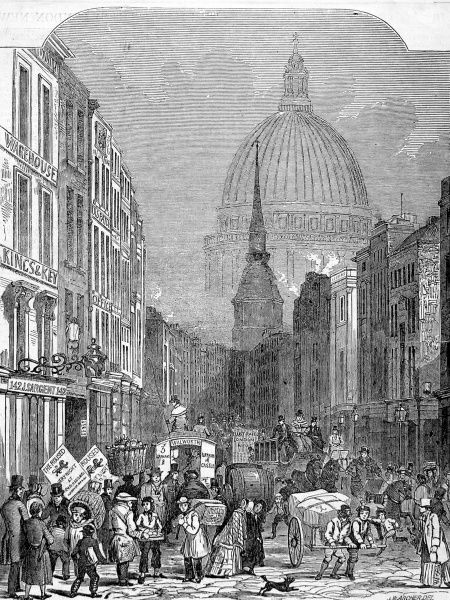 Engraving showing the view east along Fleet Street, looking towards Ludgate and the dome of St. Pauls Cathedral, London, c.1848