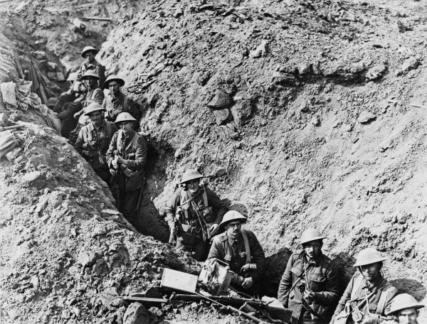 Men of the 2nd Auckland Battalion in a switch trench near Flers during the Battle of Flers-Courcelette, part of the Somme campaign