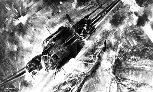 Illustration showing a Royal Air Force Handley-Page 'Hampden' bomber, commanded by Flight-Lieutenant R