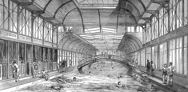 Engraving showing the floating swimming bath in the River Thames at Charing Cross, London, 1875. The swimming bath drew its water from the Thames, then cleaned and heated it, to provide an indoor sensation of swimming in the River