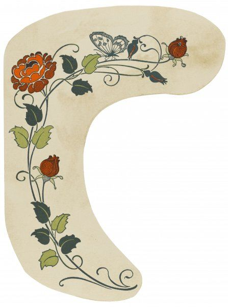Decorative floral motif featuring a rose with buds and open flower, and a butterfly