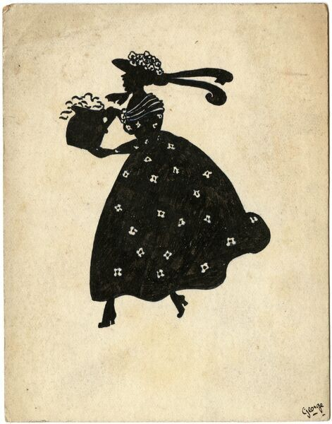 Silhouette style drawing of a lady in a crinoline style dress and flower decorated hat holding a jug of flowers