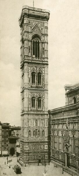 The Florence Campanile, designed by the artist Giotto di Bondone. A free-standing bell tower, part of the complex of buildings that make up Florence Cathedral (Duomo) on the Piazza del Duomo in Florence, Italy