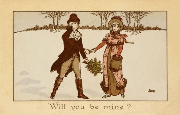 A couple from the late 18th century hold hands as they walk through the snow; the gentleman conveniently holds a bunch of mistletoe