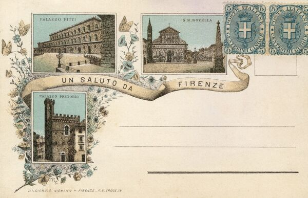 Very early illustreated postcard from Florence, Italy - featuring vignette illustrations of the Pitti Palace, Sant Maria Novella and Pretorio Palace. Date: circa 1892